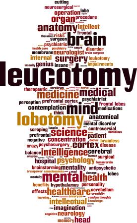 Leucotomy word cloud concept. Vector illustration
