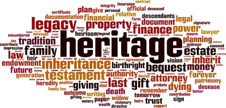 Heritage word cloud concept. Vector illustration Illustration