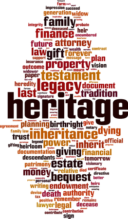 Heritage word cloud concept. Vector illustration Illustration