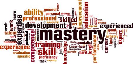 Mastery word cloud concept. Vector illustration Stock Illustratie