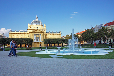 CROATIA ZAGREB, 25 SEPTEMBER 2016: Art Pavilion in Zagreb, Croatia, the Oldest Exhibition Hall on the Slavic South, Zagreb, Croatia