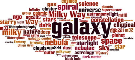 Galaxy word cloud concept vector illustration. Illustration