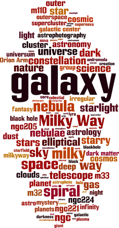Galaxy word cloud concept. Vector illustration