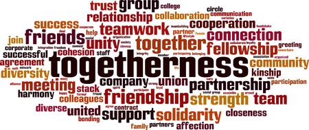Togetherness word cloud concept vector illustration.