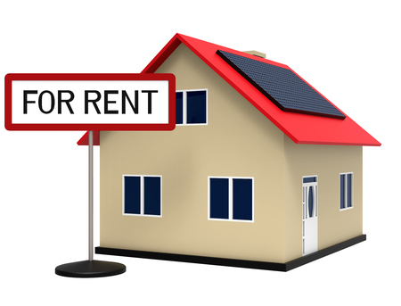 House with solar panel for rent, 3d rendering, on white background Stock Photo