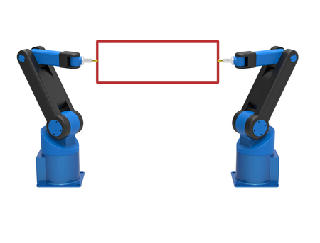Two robots holding empty blank board, 3d rendering, on white background Stock Photo