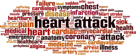 Heart attack word cloud concept. Vector illustration