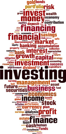Investing word cloud concept. Vector illustration