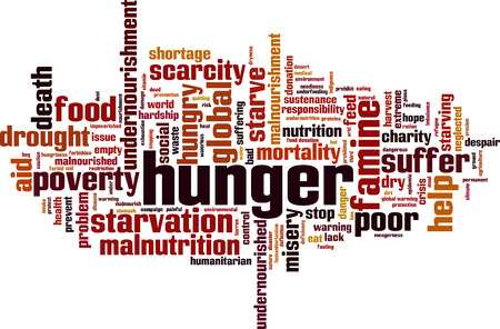 Hunger word cloud concept. Vector illustration design Illustration