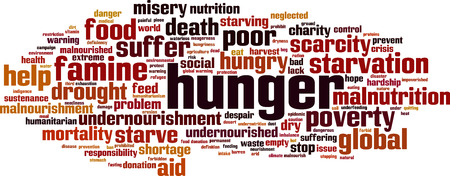 Hunger word cloud concept. Vector illustration isolated on plain background.