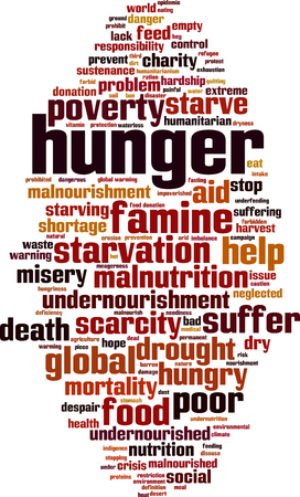 Hunger word cloud concept. Vector illustration design.