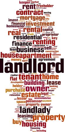 Landlord word cloud concept. Vector illustration Vettoriali