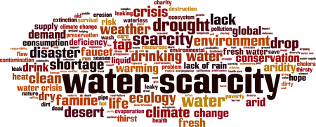 Water scarcity word cloud concept. Vector illustration. Ilustração