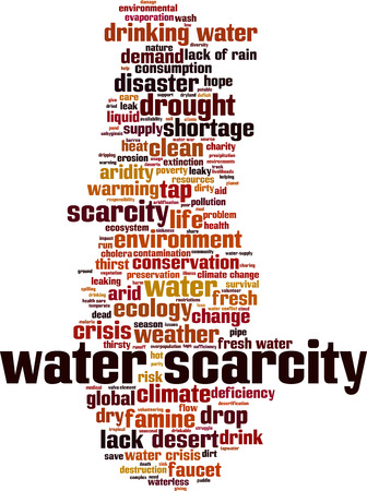Water scarcity word cloud concept. Vector illustration Ilustração