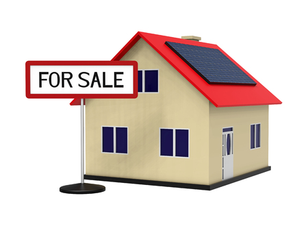 House with solar panel for sale, 3d rendering, on white background