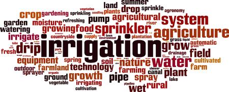 Irrigation word cloud concept. Vector illustration