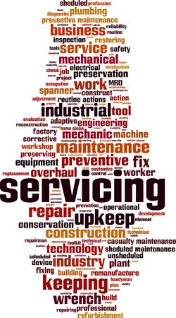 Servicing word cloud concept illustration Illustration