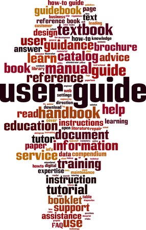 User guide word cloud concept image illustration