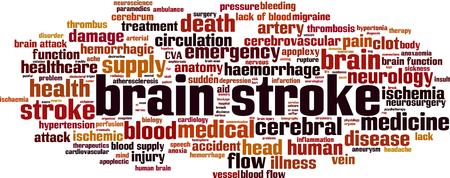 Brain stroke word cloud concept. Vector illustration