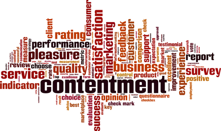 Contentment word cloud concept. Vector illustration