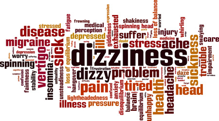 Dizziness word cloud concept. Vector illustration