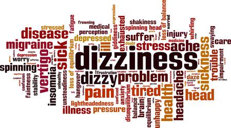 Dizziness word cloud concept. Vector illustration