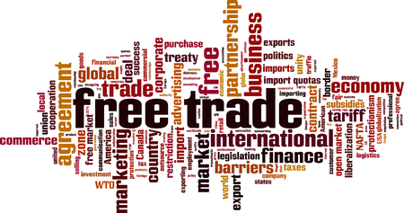 Free trade word cloud concept. Vector illustration