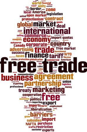 Border agreement stock photos royalty free business images free trade word cloud concept vector illustration platinumwayz