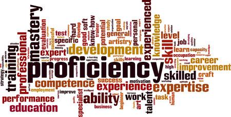 Proficiency word cloud concept. Vector illustration Stok Fotoğraf - 97413220