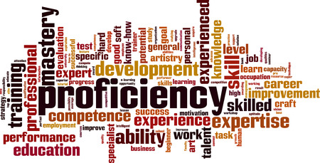 Proficiency word cloud concept. Vector illustration