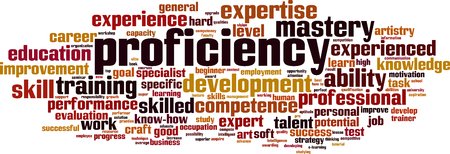 Proficiency word cloud concept. Vector illustration