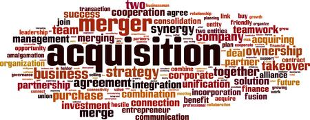 Acquisition word cloud concept. Vector illustration Illustration