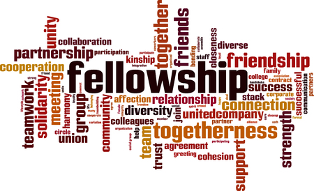 Fellowship word cloud concept. Vector illustration Foto de archivo - 97468745