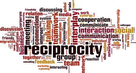 Reciprocity word cloud concept. Vector illustration Ilustracja