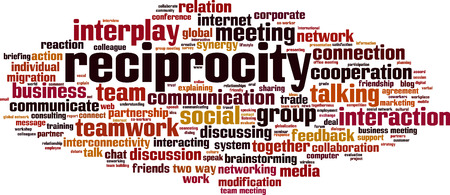 Reciprocity word cloud concept. Vector illustration Illustration