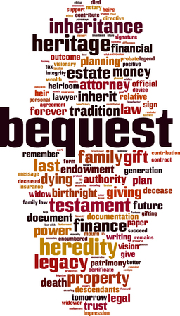 Bequest word cloud concept. Vector illustration Illustration