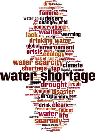 Water shortage word cloud concept. Vector illustration
