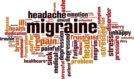 Migraine word cloud concept. Vector illustration