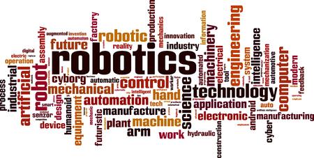 Robotics word cloud concept. Vector illustration