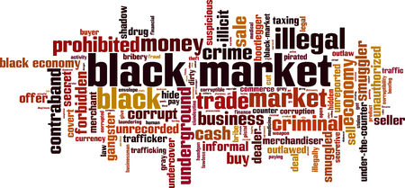 Word cloud concept of black market in colored illustration.  イラスト・ベクター素材