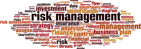 Risk management word cloud concept. Vector illustration