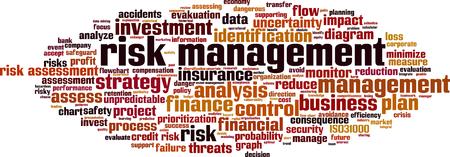 Risk management word cloud concept. Vector illustration