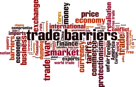 Trade barriers word cloud concept. Vector illustration.