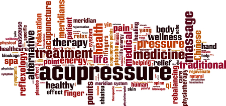 Acupressure word cloud concept Vector illustration