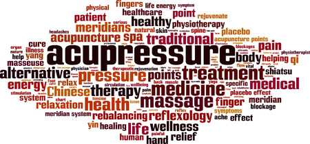Acupressure word cloud concept illustration.
