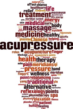 Acupressure word cloud concept illustration.