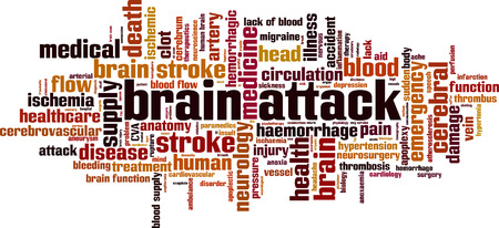 Brain attack word cloud concept Vector illustration Иллюстрация