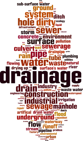 Drainage word cloud concept vector illustration. 向量圖像