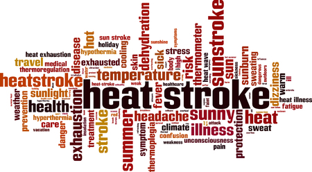 Heat stroke word cloud concept vector illustration. Illustration