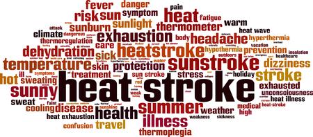 Heat stroke word cloud concept vector illustration. Çizim